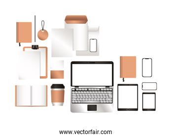 mockup laptop tablet smartphone and corporate identity set vector design