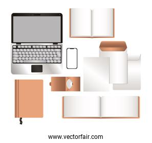 mockup laptop smartphone and corporate identity set vector design
