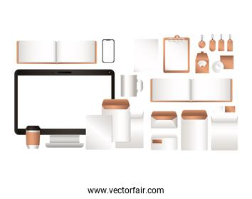 mockup computer and corporate identity set vector design