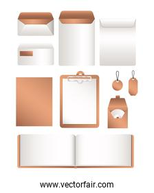 Isolated mockup file and envelopes vector design