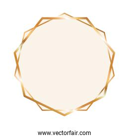 gold ornament frame in circle shaped vector design