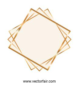 gold ornament frame in diamond shaped vector design