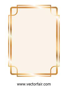gold ornament frame in rectangle shaped vector design