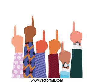 number one sign with hands of different types of skins vector design