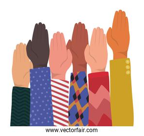 up hands with closed palm of different types of skins vector design