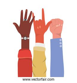 fist rock sign and open hands up of different types of skins vector design