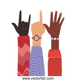 number one rock sign and open hands up of different types of skins vector design