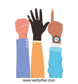 fist number one sign and open hands up of different types of skins vector design