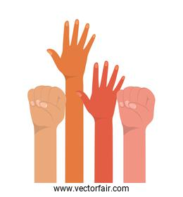 fist sign and open hands up of different types of skins vector design