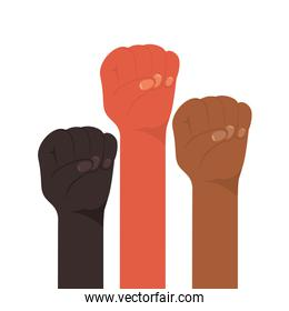fist sign with hands of different types of skins vector design