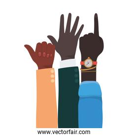 number one like sign and open hands up of different types of skins vector design