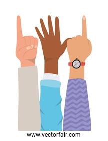number one sign and open hands up of different types of skins vector design