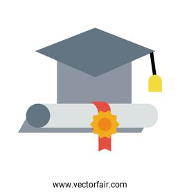 graduation hat and diploma flat style icon