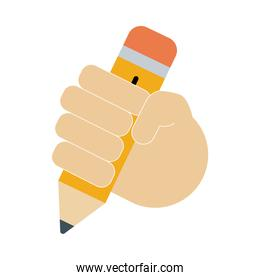 hand with pencil school supply flat style icon