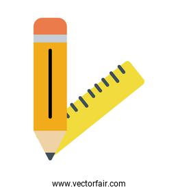 pencil with rule school supply flat style icon