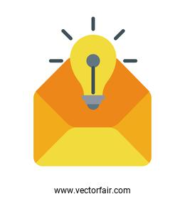 bulb light with envelope flat style icon