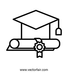 graduation hat and diploma line style icon