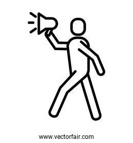 man protesting with megaphone line style icon
