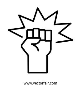 hand human fist protesting line style icon