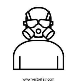 air protection mask linear style icon