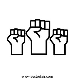 hands humans fists protesting line style icon