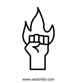 hand human fist protesting with fire flame line style icon