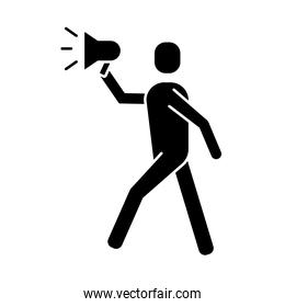 man protesting with megaphone silhouette style icon