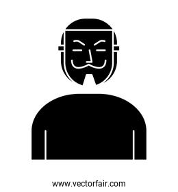 man with Salvador Dali mask silhouette style icon