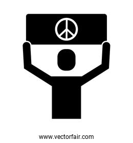 man protesting with banner peace and love sign silhouette style icon