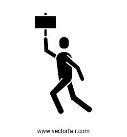 man protesting with banner silhouette style icon