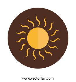 cartoon sun hot beams nature weather block and flat icon