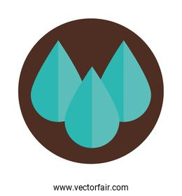 water drops liquid nature block and flat icon