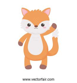 cute little fox animal standing cartoon isolated white background design