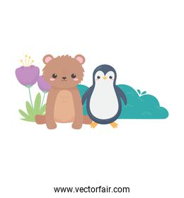 little penguin bear tree and flowers cartoon animals in a natural landscape