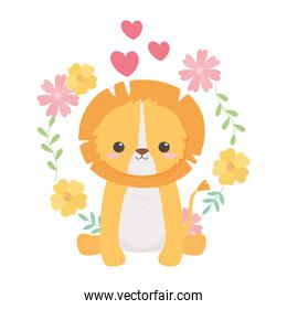cute lion sitting with flowers hearts cartoon animals