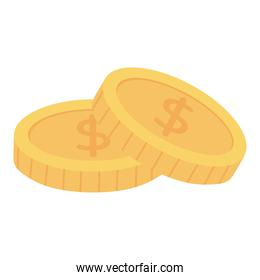 money coins currency isolated icon white background