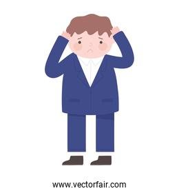 sad businessman with hands in head cartoon isolated icon white background