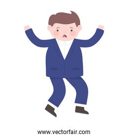 worried businessman cartoon character isolated icon white background