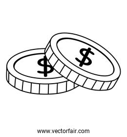 money coins currency isolated icon white background line style