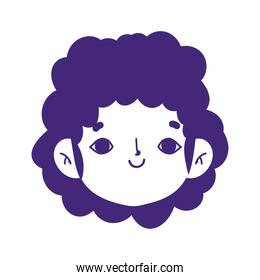 cartoon avatar face boy smiling expression isolated icon