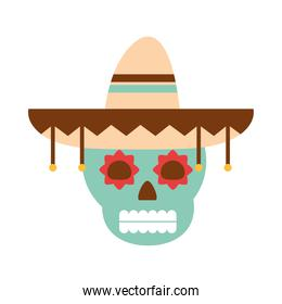 mexican skull with hat traditional decoration flat icon
