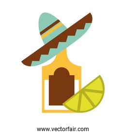 mexican tequila bottle sombrero and lemon traditional flat icon