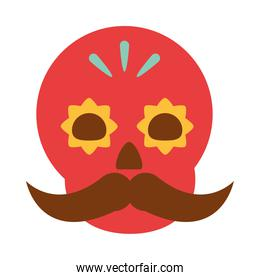 mexican red skull floral and mustache decoration ornament flat icon