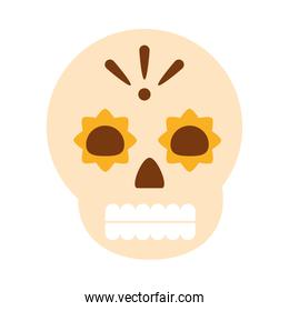 mexican floral skull spooky decoration celebration flat icon