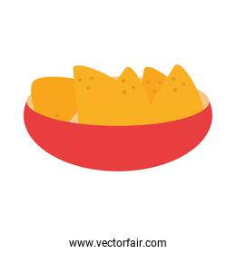 mexican food nachos in bowl traditional flat icon
