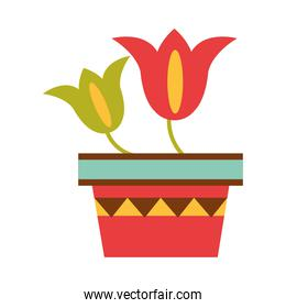 potted flowers ornate decoration flat icon