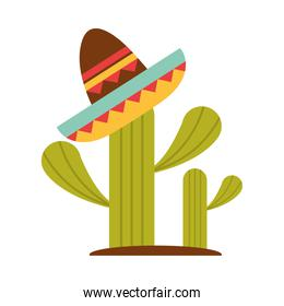 mexican hat on cactus decoration flat icon