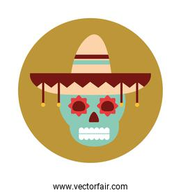 mexican skull with hat traditional decoration block and flat icon