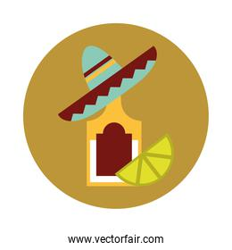 mexican tequila bottle sombrero and lemon traditional block and flat icon