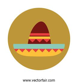 mexican sombrero clothes folk culture traditional block and flat icon
